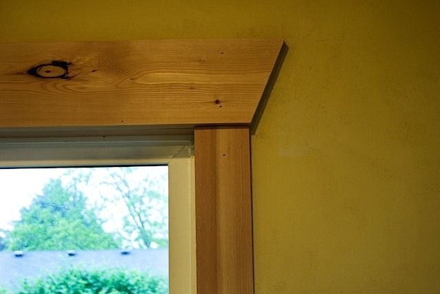 Simple pine trim with angled ends on the header casing