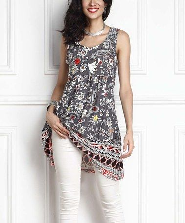 Another great find on #zulily! Gray Floral Empire-Waist Sleeveless Tunic Dress by Reborn Collection #zulilyfinds