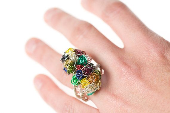 #Art #ring. #Colorful ring. #Abstract ring. #Modern jewelry. #Sculptural ring. #Contemporary ring. #Unusual ring.  $88.76 USD