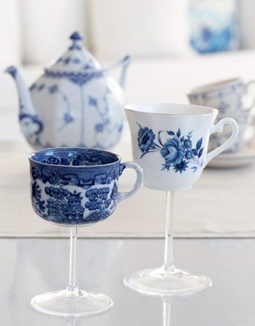 DIY Teacup Wineglasses: China Patterns, Teas Cups, Crafts Projects, High Teas, Crafts Home Decor, Wine Glasses, Teacups, Teas Parties, Wineglass