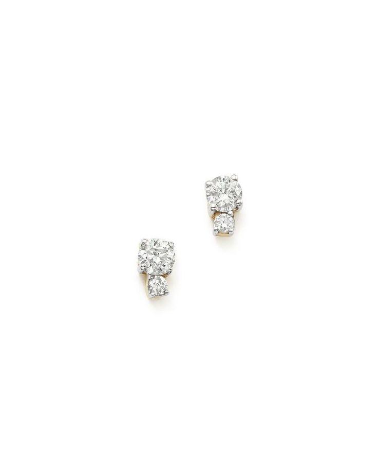 Adina Reyter   Metallic 14k Yellow Gold Amigos Tiny Double Diamond Stud Earrings   Lyst