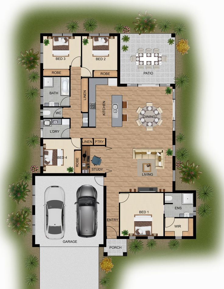 2D colour floor plan for a home building company - Innisfail QLD