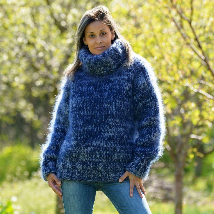 10 strands BLUE Hand Knitted Mohair Sweater mix Thick Pullover M L EXTRAVAGANTZA #Extravagantza #Turtleneck
