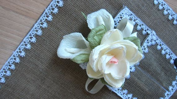 MAGNOLIA buttonhole Wedding BUTTONHOLE rustic by moniaflowers
