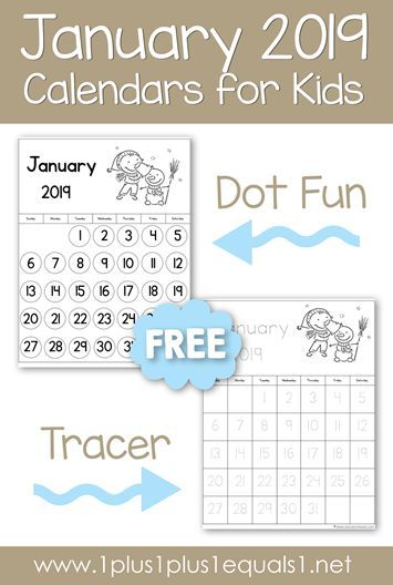 Grab your FREE printable January 2019 calendars for kids Tracing