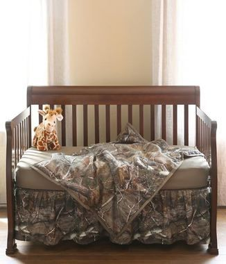 Hunting for bedding for your baby bunting? Look no farther than our new Realtree® Camo Crib Sets!