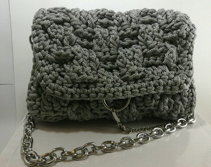 Grey Women's Crochet Handbag with silver metalic embelishment/Knitted