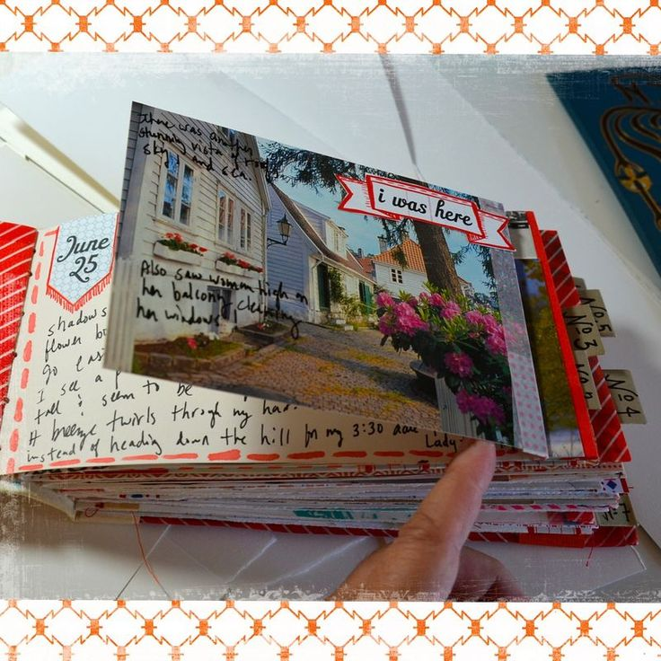 love this technique with the pic flipped open to reveal the journaling.