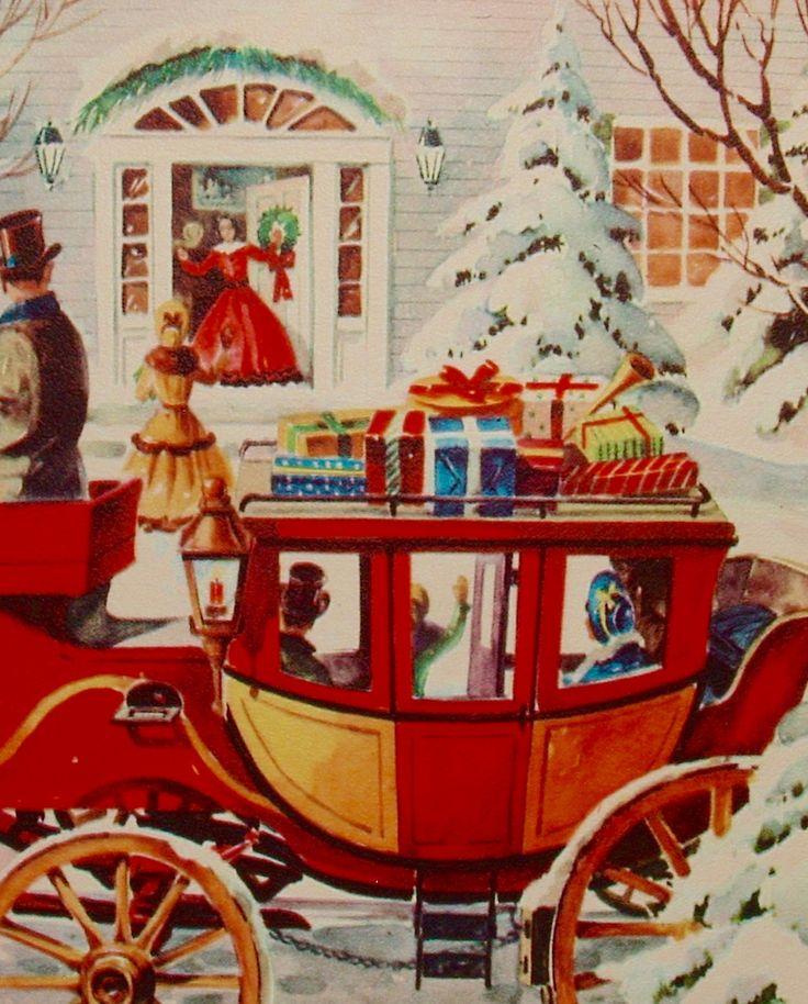 Christmas Stagecoach. Vintage Christmas Card. Retro Christmas Card.