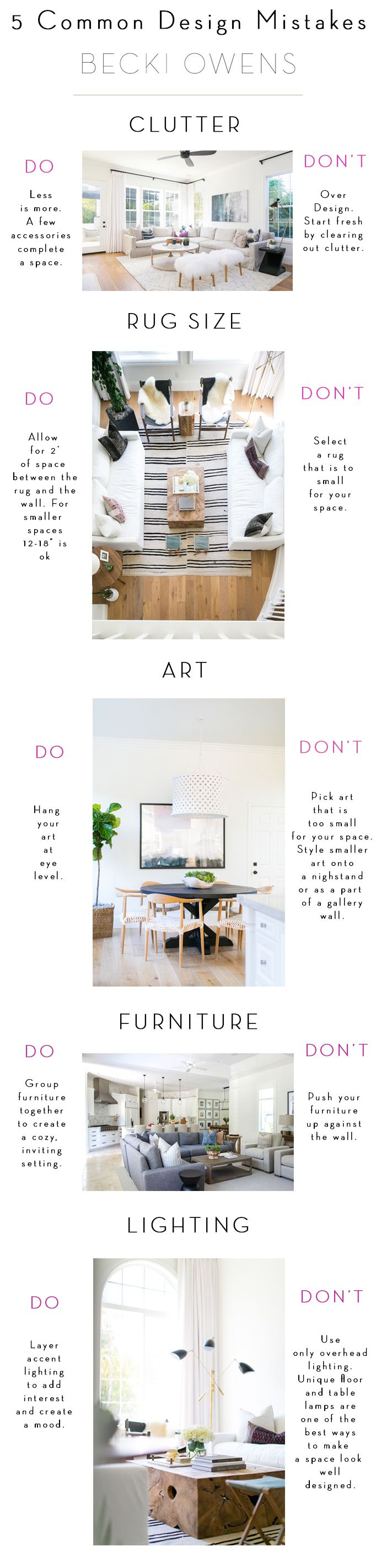 Arm yourself with this list of common design mistakes + easy fixes and then edit your own space to get a polished designer look.