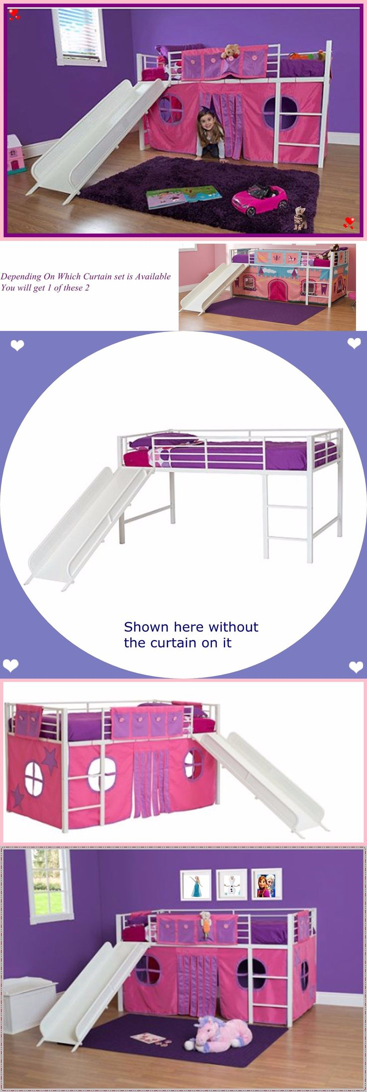 Kids Furniture: Girls Twin Loft Bed With Slide White Bunk Pink Playhouse Curtains Kids Furniture BUY IT NOW ONLY: $252.59