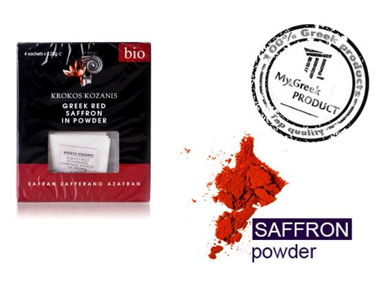 Greek red powder organic saffron from Kozani.  Saffron, the GOLD OF GREEK EARTH as it is called, was among the most popular and valuable spices of ancient civilizations, for its flavor, color, pharmaceutical and aphrodisiac properties.