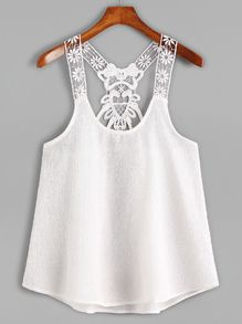 White Contrast Lace Crochet Cami Top US$7.99