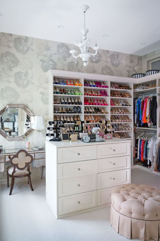 Organized closet space.
