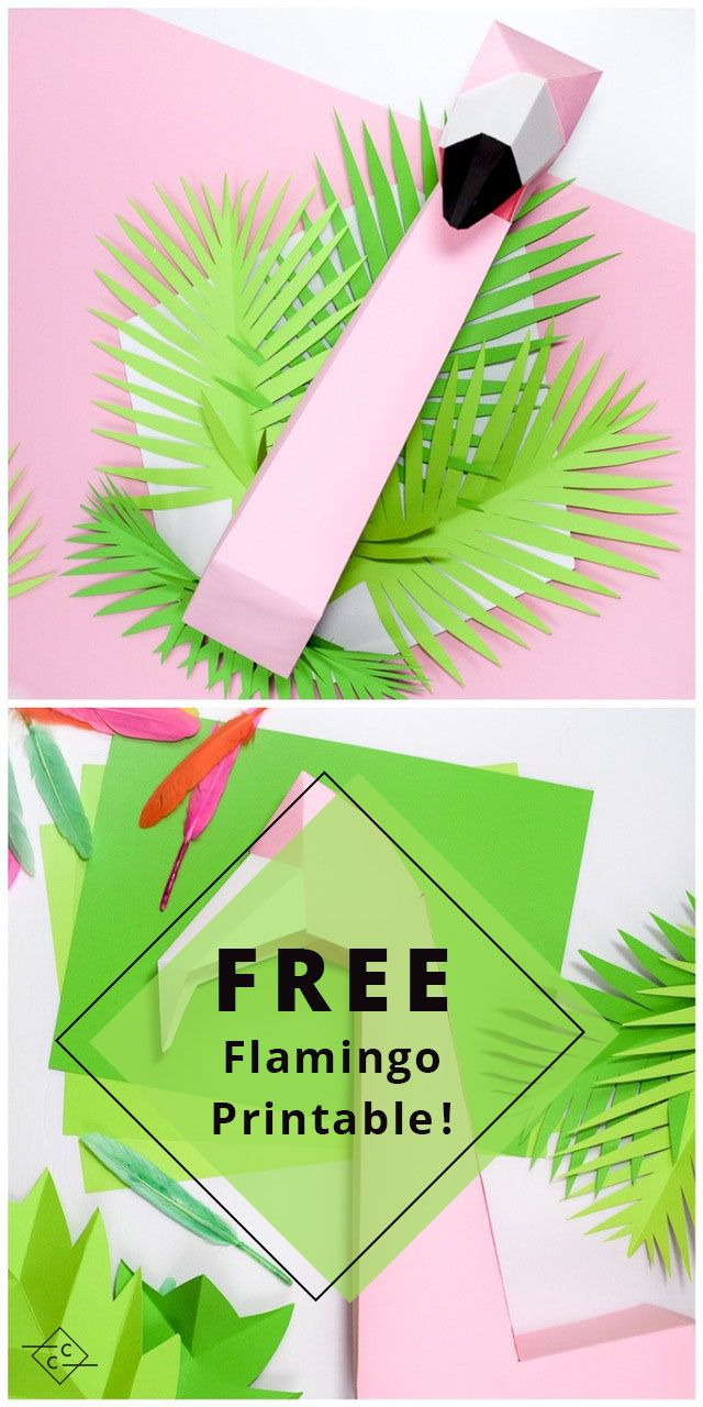 printable template origami pink flamingo DIY wall decor tropical party - flamant rose imprimable telechargeable pliage - Carton Carton