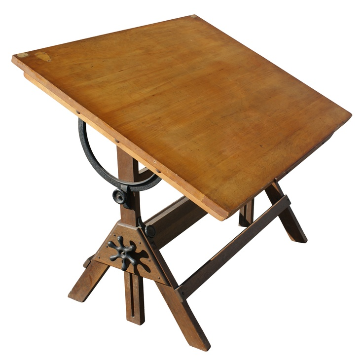 Vintage Hamilton Oak And Maple Adjustable Drafting Table