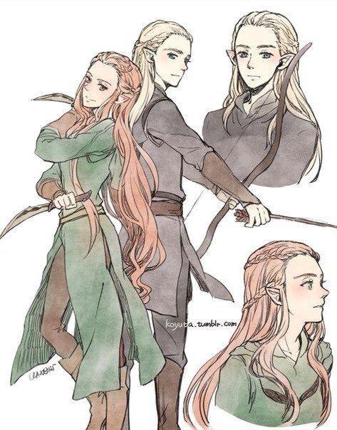 Teen Legolas and Tauriel by koyuta