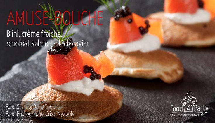 Blini salmon and black caviar | Blini | Pinterest