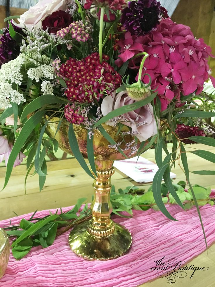 Mercury gold compote vases of florals, on hand dyed raspberry muslin table runners