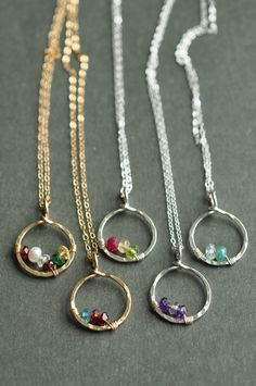 Mother's Day gift idea - birthstone necklaces with real gemstones #giftformom  #mother #birthstonejewelry
