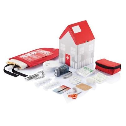 "Set ""Safe House"" contains a fire blanket, smoke detector, first aid kit, Dyno lantern, lock the doors with chains thermometer on the radiator outlet and protector of children.  http://www.odora.eu/product/bezpecny-dom-set/"