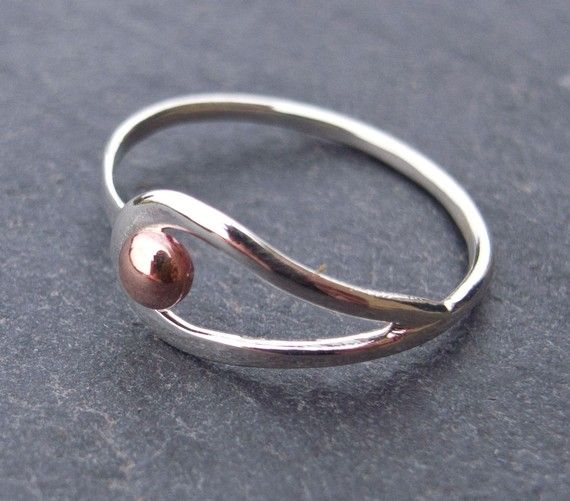 Sterling silver and copper loop ring