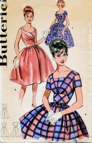 1960s Mad Men Full Skirted Cocktail Party Evening Dress Pattern Butterick 9561 Vintage Sewing Pattern Figure Flattering Wide Midriff Wrap Effect Bodice, FICHU Neckline Bust 34 UNCUT FACTORY FOLDED