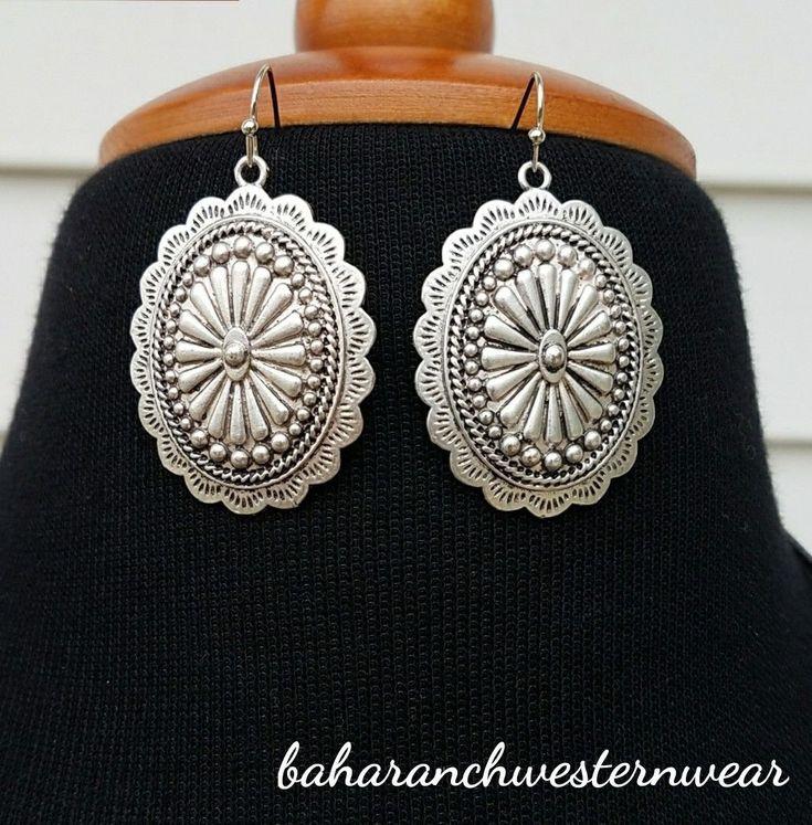 Cowgirl Bling Gypsy EARRINGS Silver tone concho spanish | eBay