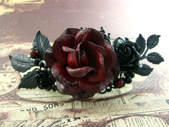 Gothic Wedding Hair Piece  by ArdentHearts - Deep romantic red Victorian Gothic Style floral hair barrette.