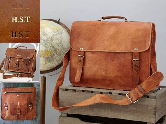 """Personalized Leather Laptop Bag with Handle - Size: 16""""x12"""" By Vida Vida  $133.57"""