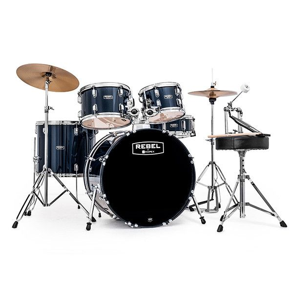 Mapex Rebel 10/12/16/22/5x14 5pc SRO Drum Kit Complete Set Up Royal Blue