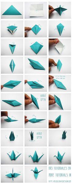 Tutorial DIY grulla de origami