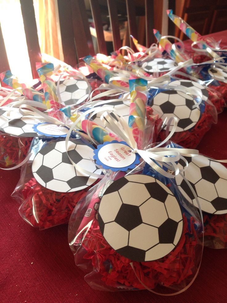 Soccer goodies for the end of the season party.