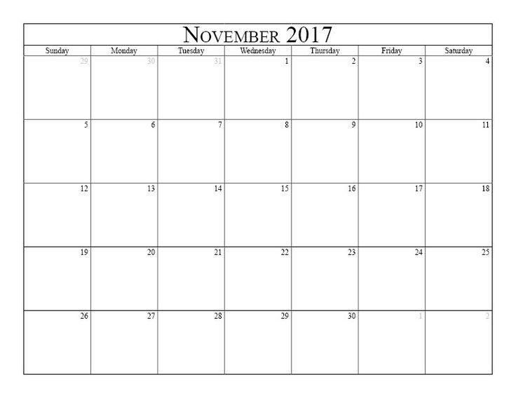 November 2017 Holidays Calendar