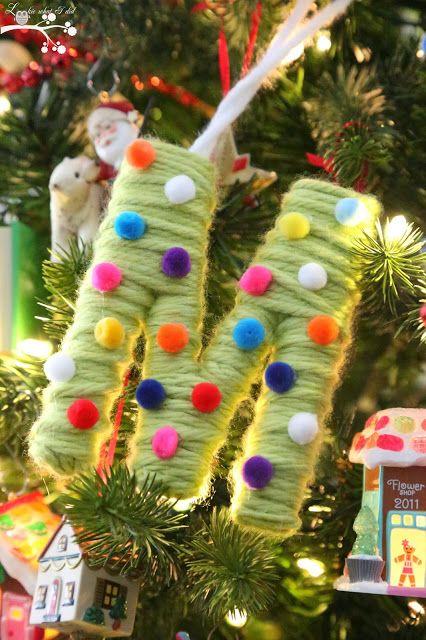Yarn and Pom Pom Monogram Ornaments