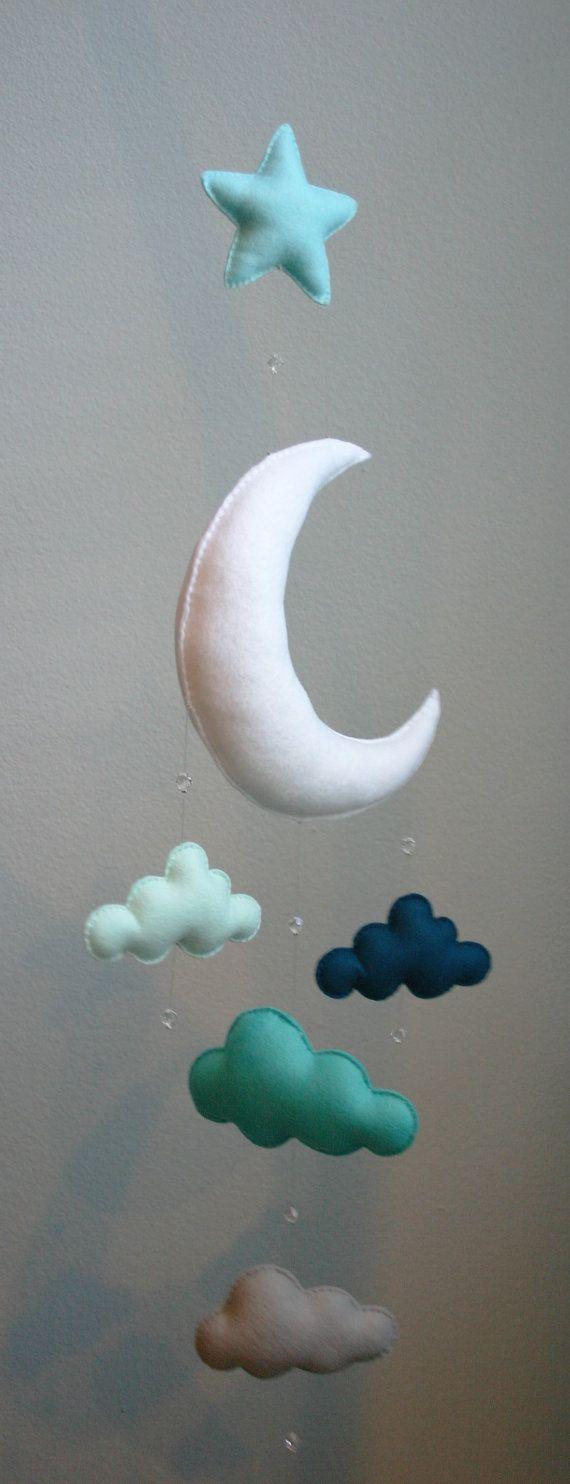 Modern Baby Mint Navy Gray Moon Felt Mobile by TheWhiteBirchTree