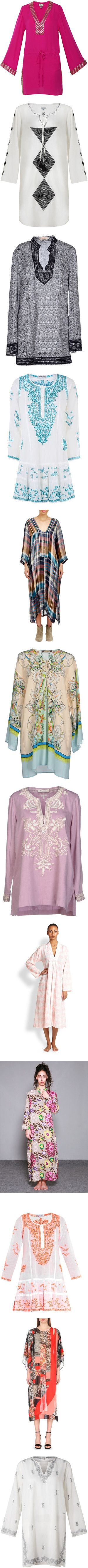 Cover Up: Long-Sleeve Kaftans by polyvore-editorial on Polyvore featuring kaftans, tops, tunics, dresses, swimwear, long sleeve caftan, beach caftan, beaded tunic, beach kaftan and short kaftan