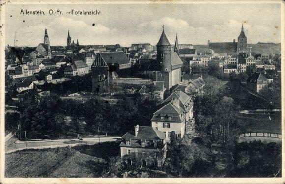Olsztyn-Allenstein, Ostpreußen, Panorama von der Ortschaft