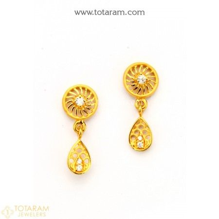 c6fb6f38f618d2 22K Gold Earrings for Women with Cz - 235-GER8803 - Buy this Latest Indian Gold  Jewelry Design in 2.500 Grams for a low price of $160.00