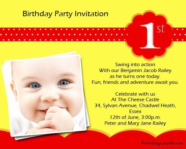 First Birthday Party Invitation Wording In 2020 Birthday