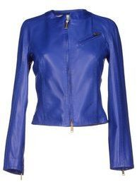 $510, Blue Leather Bomber Jacket: Dsquared2 Jackets. Sold by yoox.com. Click for more info: https://lookastic.com/women/shop_items/238530/redirect