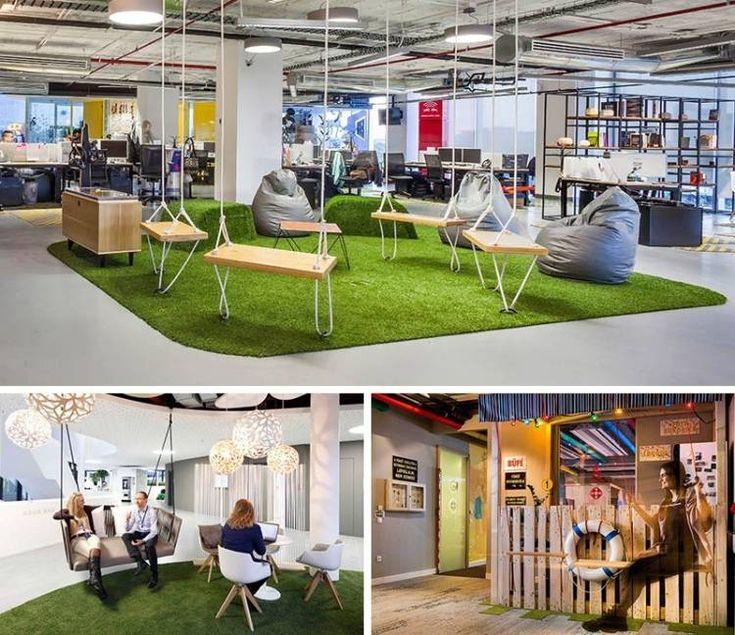 espace de travail collaboratif et salle de repos avec balançoire bois