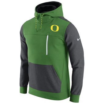 Oregon Ducks Nike AV15 Fleece Pullover Hoodie - Apple Green/Charcoal