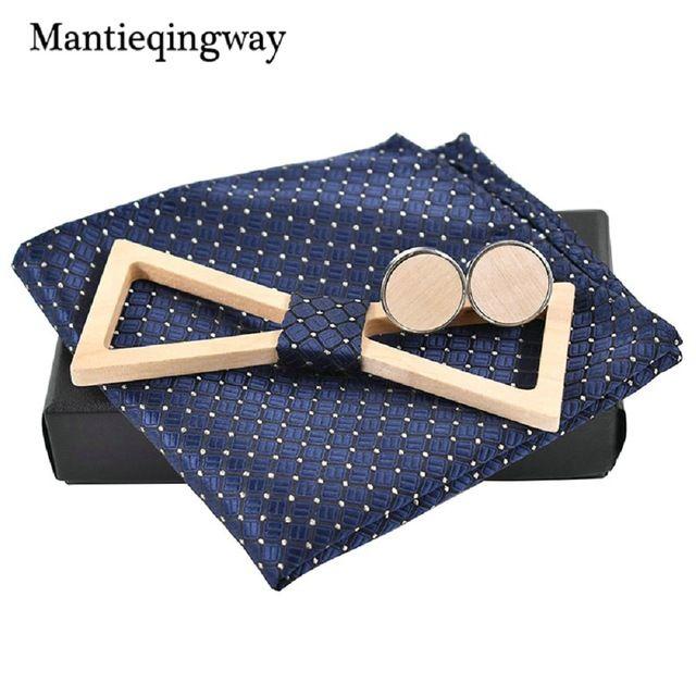 Mantieqingway Polyester Handkerchiefs Wood Bowtie Cufflinks Set For Men Business Suit Hanky Neckwear Wooden Neckwear Bow Ties-in Ties & Handkerchiefs from Men's Clothing & Accessories on Aliexpress.com | Alibaba Group