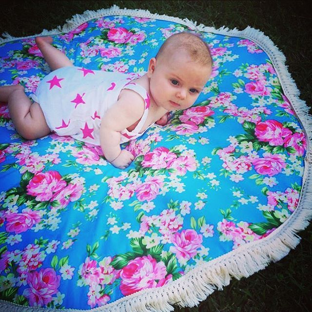 baby play mat - cotton front, wadding inside, calico back with frill trim 1m diameter. $100 on etsy https://www.etsy.com/au/shop/LeCocoArchie?ref=search_shop_redirect