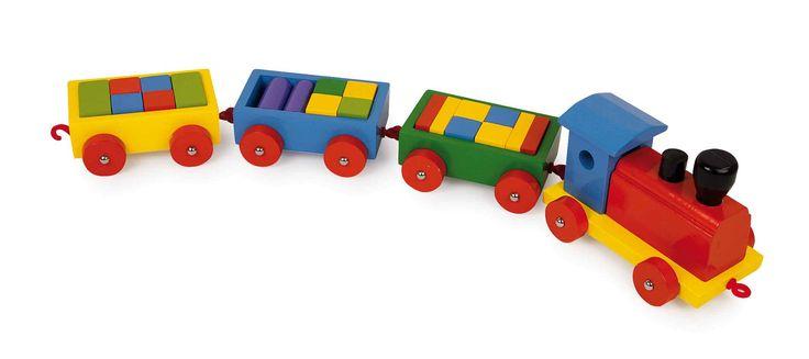Stevige trein met 3 aanhangwagens en 20 bouwblokjes van bont gelakt massief hout.