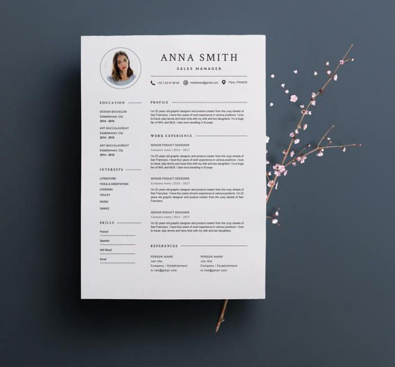 """Modern Resume Template """"ANNA"""" & Cover Letter 