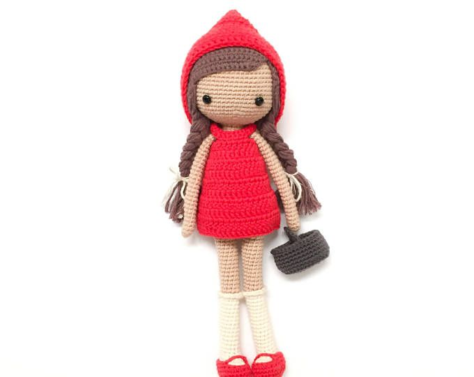 LOVELY RED RIDING HOOD DOLL TOY KNITTING PATTERN INSTRUCTIONS TO MAKE YOURSELF