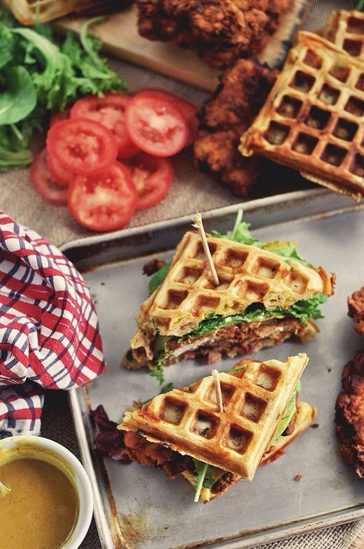 chicken and waffle sandwiches w/ bacon and cheddar