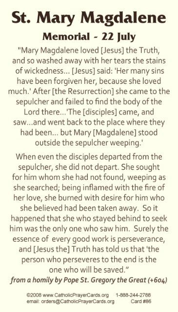 St Mary Magdalene prayer.